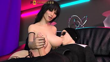 Брюнетка с крупными грудями ласкает член бойфренда вместе с подружкой